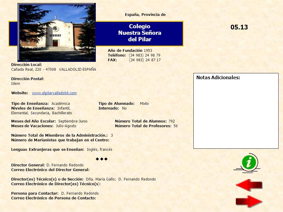 05.13 Colegio Nuestra Señora del Pilar  Notas Adicionales:
