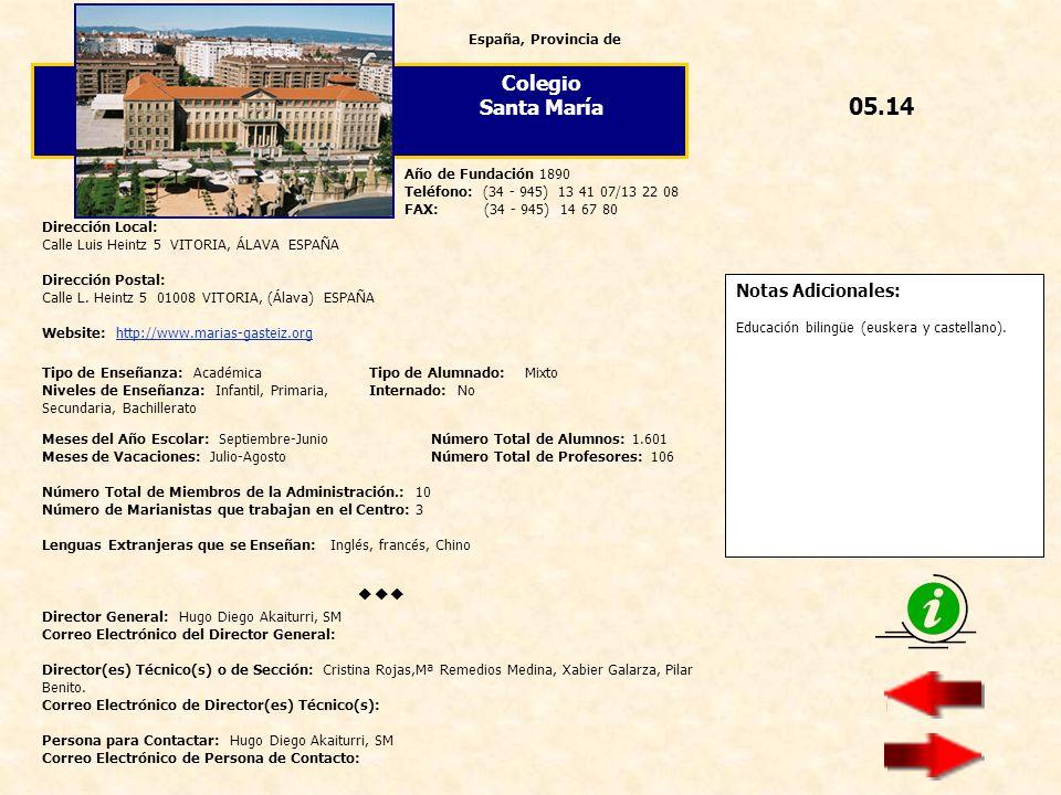 05.14 Colegio Santa María  Notas Adicionales: España, Provincia de