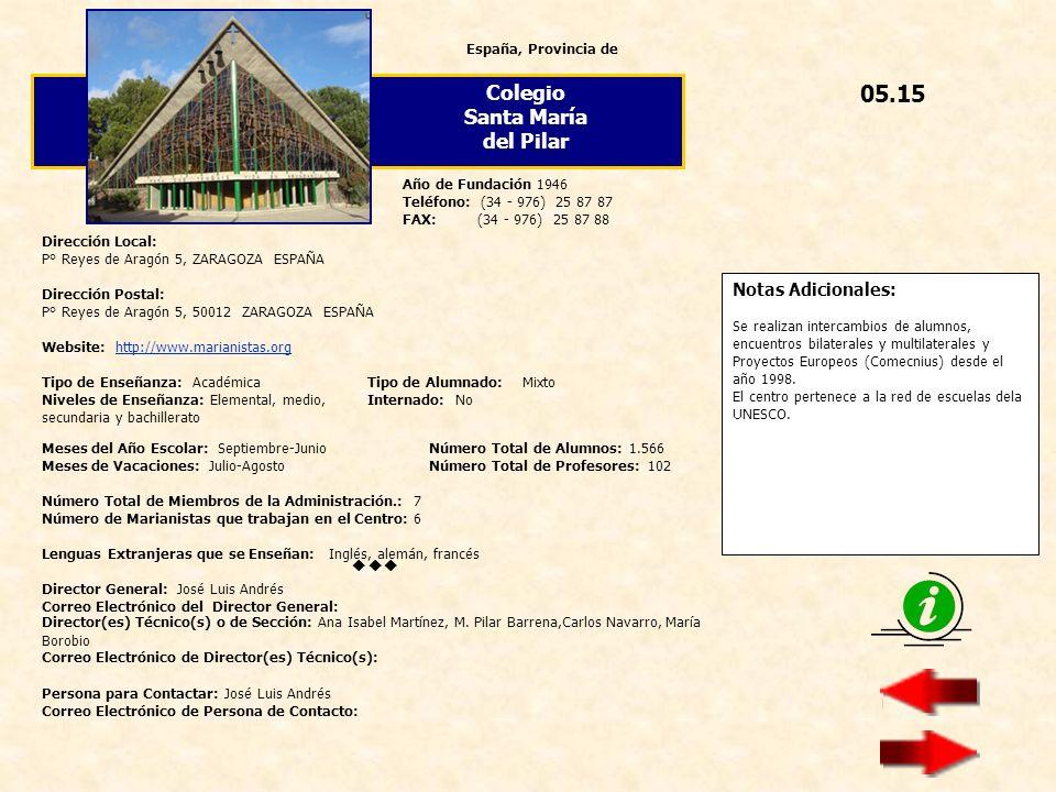05.15 Colegio Santa María del Pilar  Notas Adicionales: