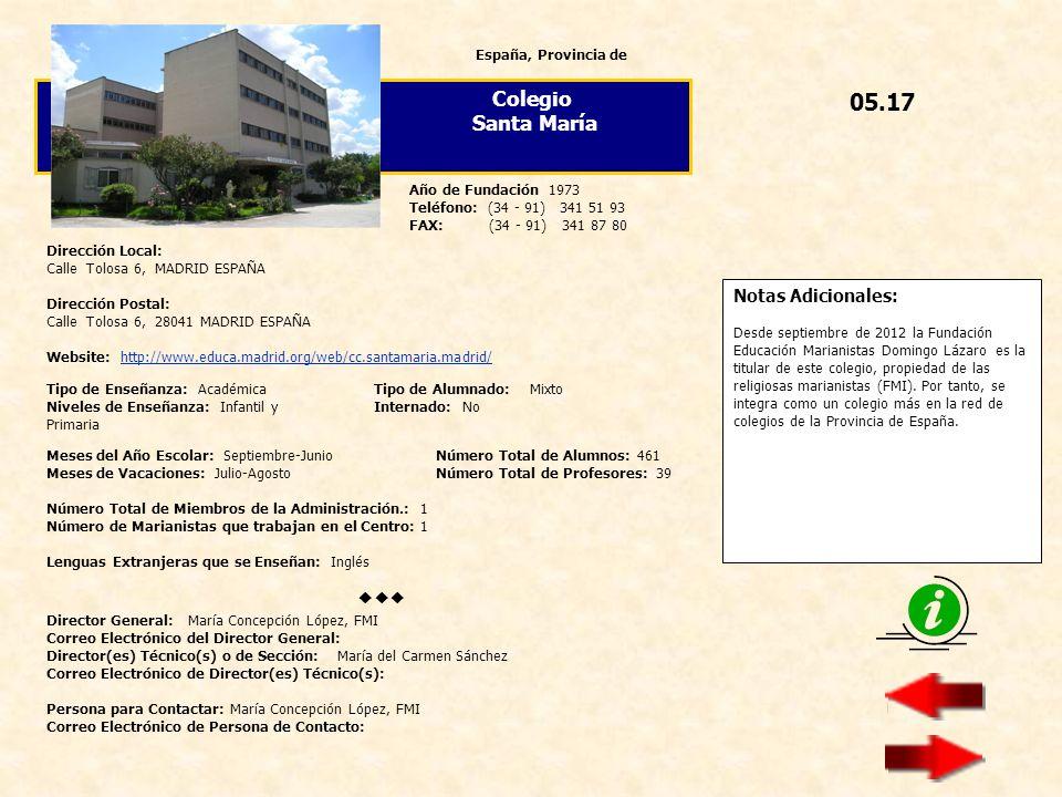 05.17 Colegio Santa María  Notas Adicionales: España, Provincia de