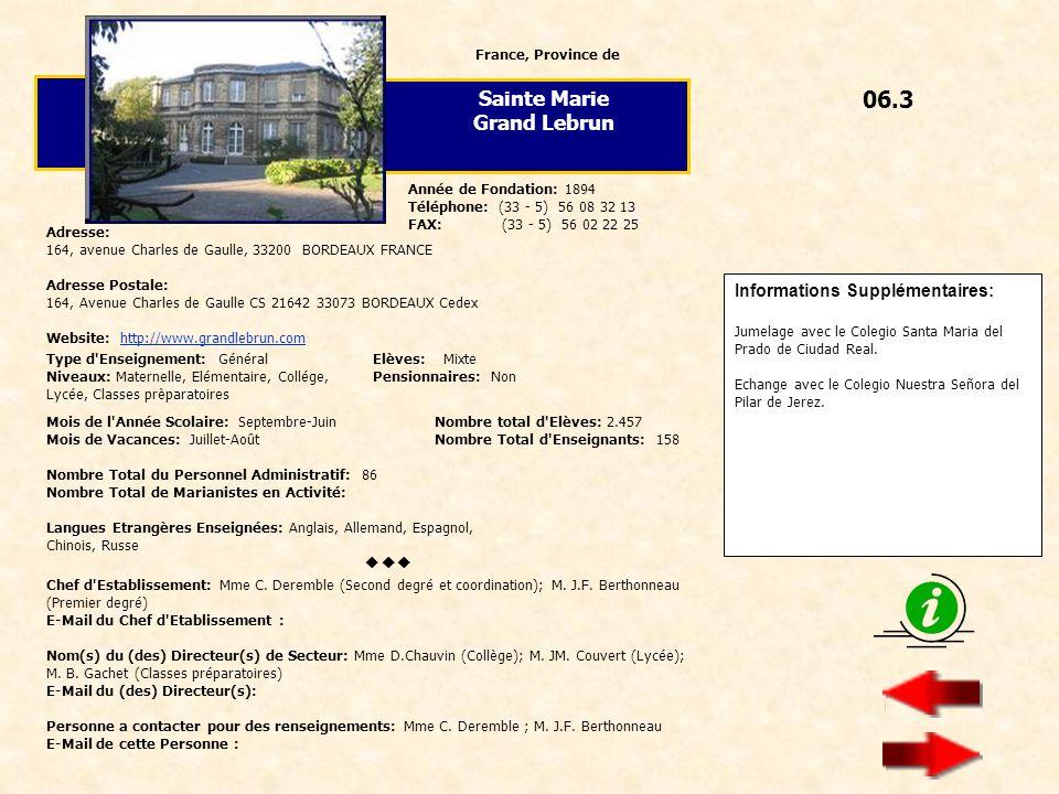 06.3 Sainte Marie Grand Lebrun Informations Supplémentaires: