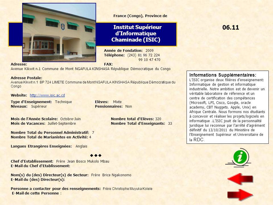 06.11 Institut Supérieur d'Informatique Chaminade (ISIC) 