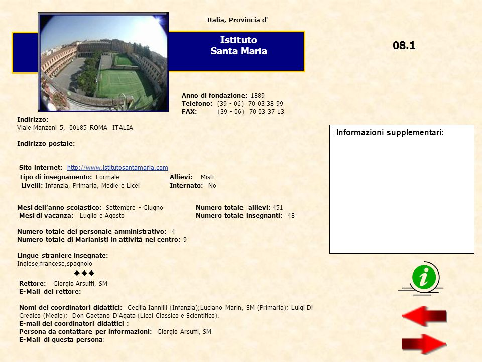 08.1 Istituto Santa Maria  Informazioni supplementari: