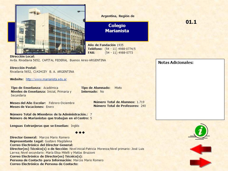 01.1 Colegio Marianista  Notas Adicionales: Argentina, Región de