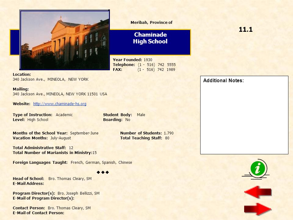 11.1 Chaminade High School  Additional Notes: Meribah, Province of