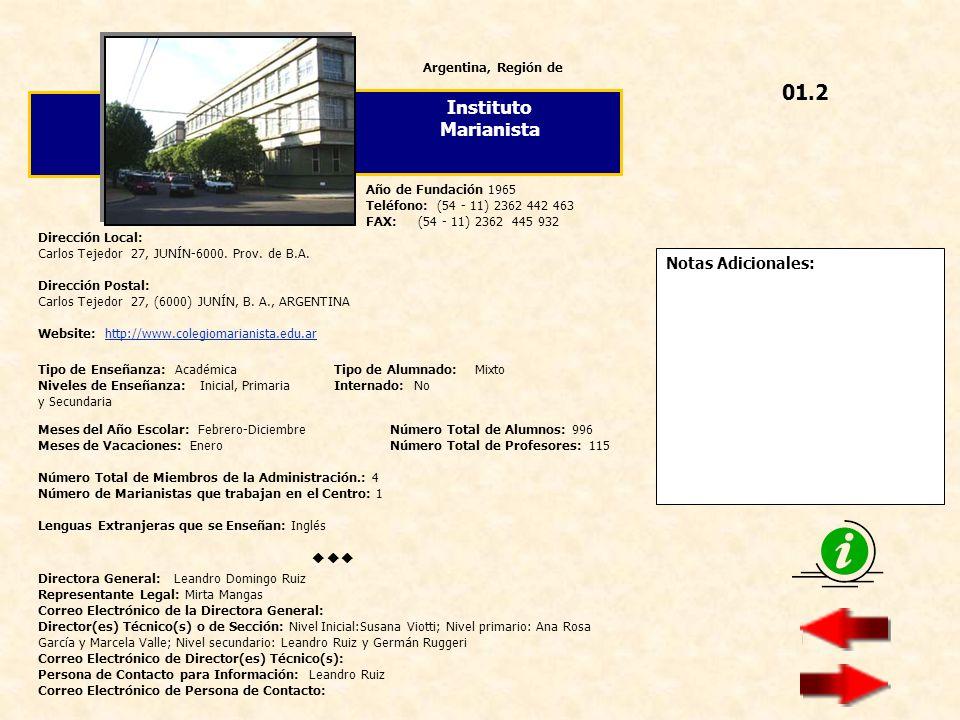 01.2 Instituto Marianista  Notas Adicionales: Argentina, Región de