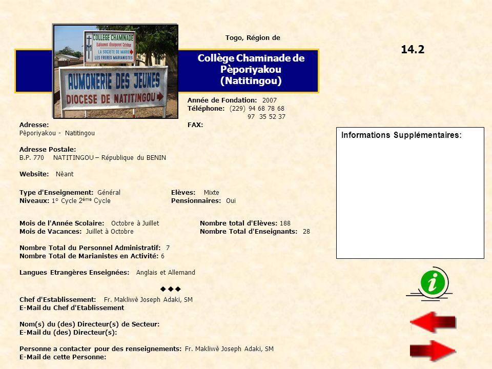 14.2 Collège Chaminade de Pèporiyakou (Natitingou) 