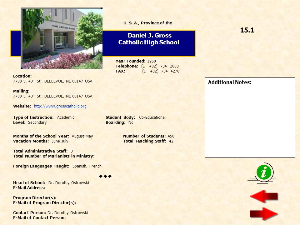 15.1 Daniel J. Gross Catholic High School  Additional Notes: