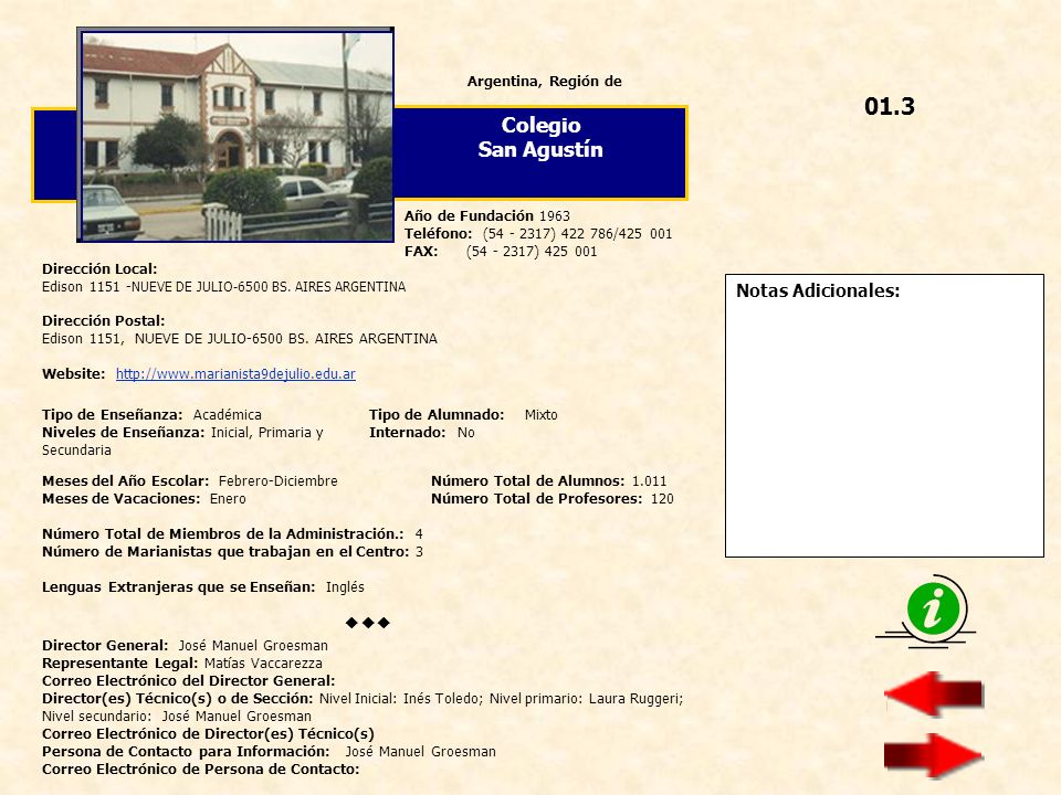 01.3 Colegio San Agustín  Notas Adicionales: Argentina, Región de