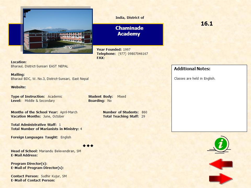 16.1 Chaminade Academy  Additional Notes: India, District of