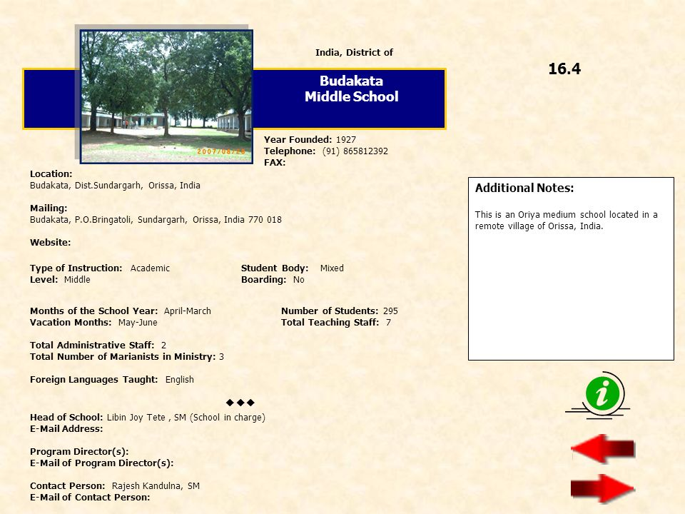16.4 Budakata Middle School  Additional Notes: India, District of