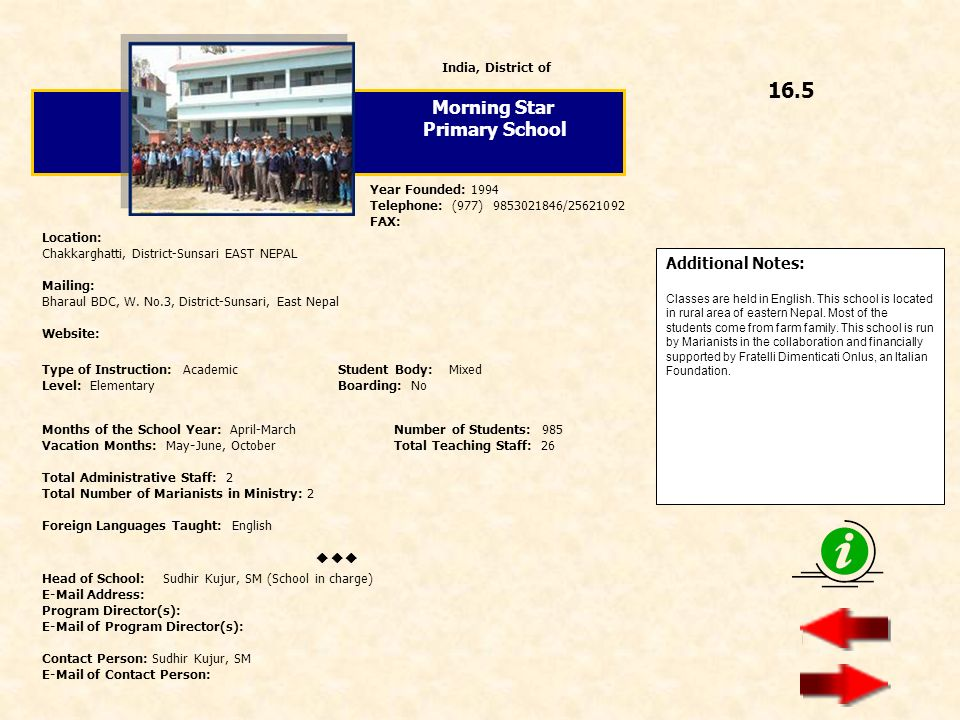 16.5 Morning Star Primary School  Additional Notes: