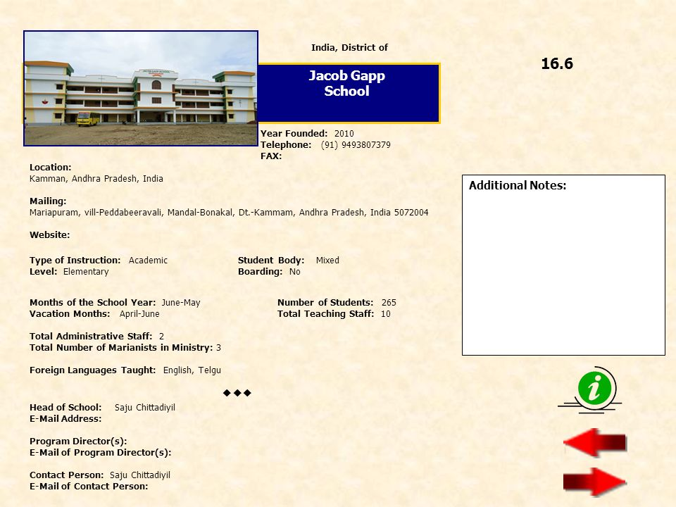 16.6 Jacob Gapp School  Additional Notes: India, District of
