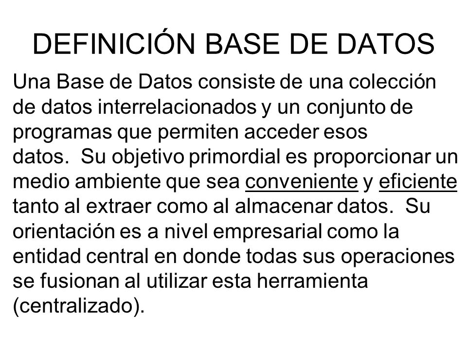 DEFINICIÓN BASE DE DATOS