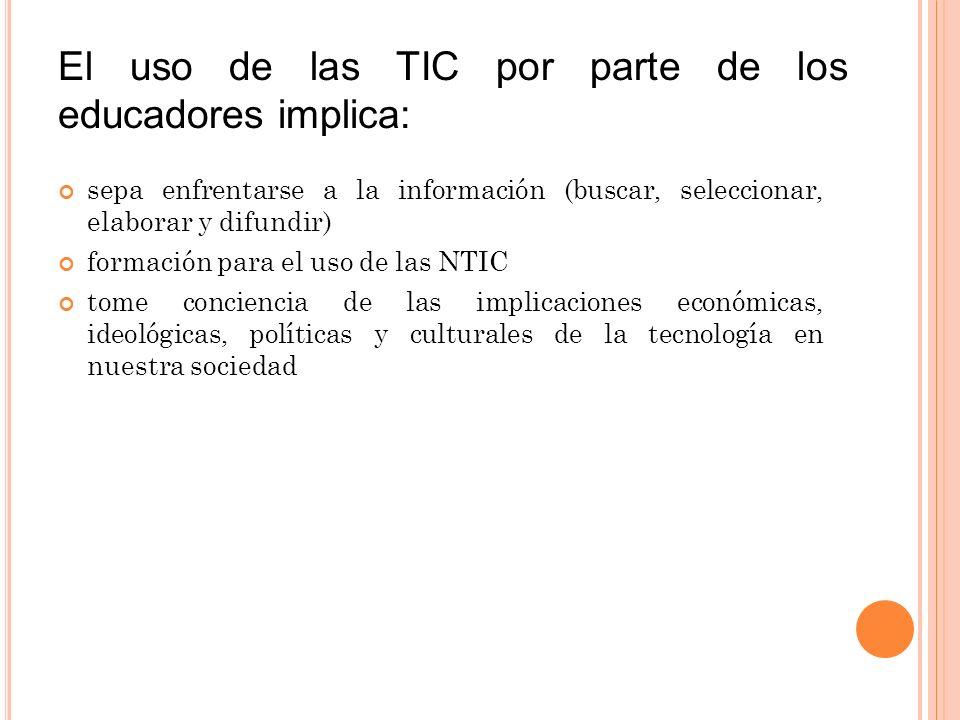 El uso de las TIC por parte de los educadores implica: