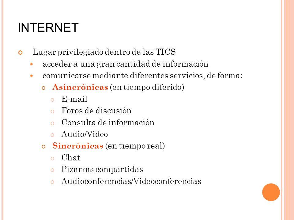 INTERNET Lugar privilegiado dentro de las TICS