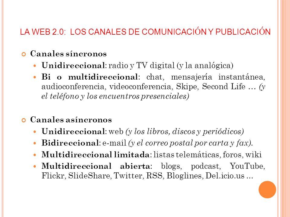 LA WEB 2.0: LOS CANALES DE COMUNICACIÓN Y PUBLICACIÓN
