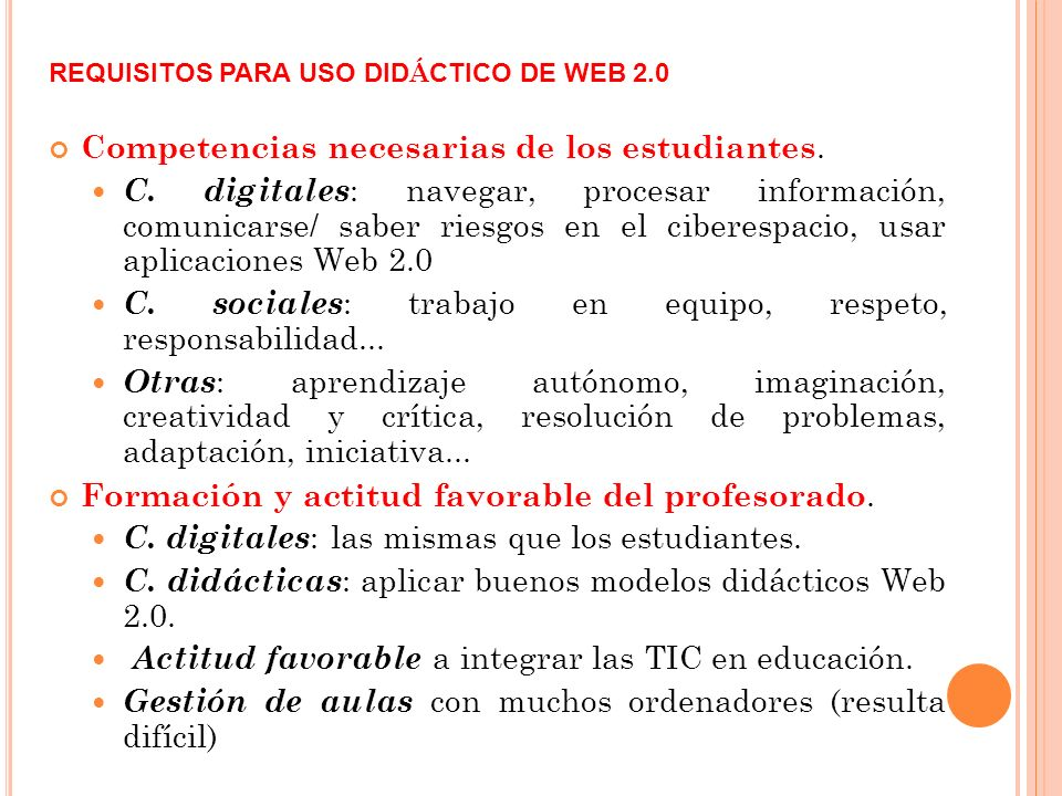 REQUISITOS PARA USO DIDÁCTICO DE WEB 2.0