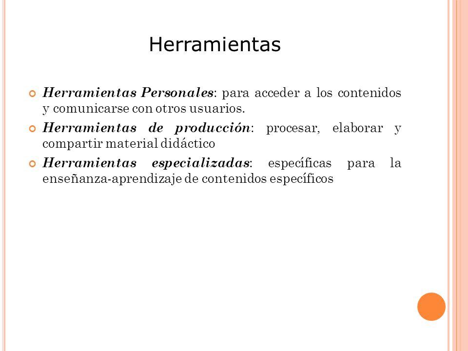 Herramientas Herramientas Personales: para acceder a los contenidos y comunicarse con otros usuarios.