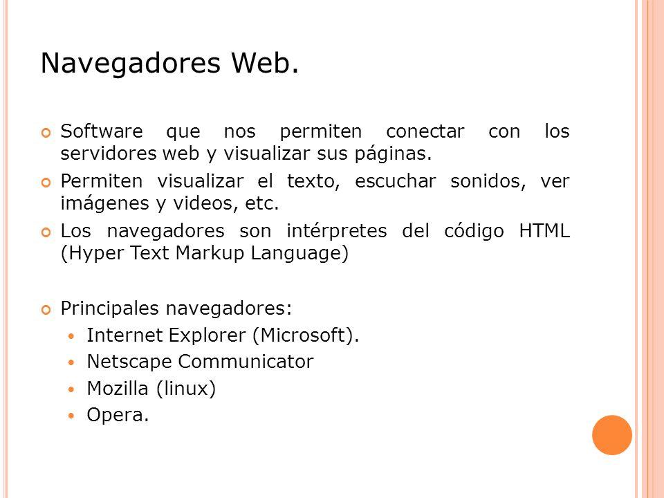 Navegadores Web. Software que nos permiten conectar con los servidores web y visualizar sus páginas.