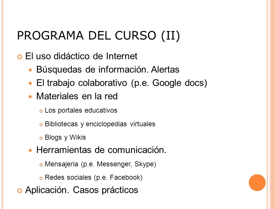 PROGRAMA DEL CURSO (II)