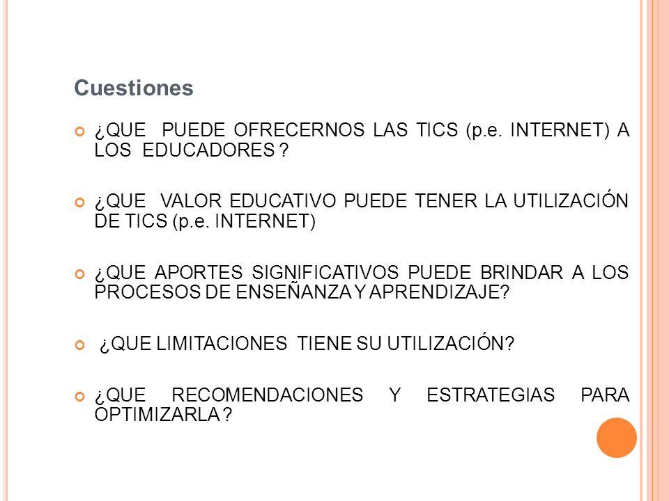 Cuestiones ¿QUE PUEDE OFRECERNOS LAS TICS (p.e. INTERNET) A LOS EDUCADORES