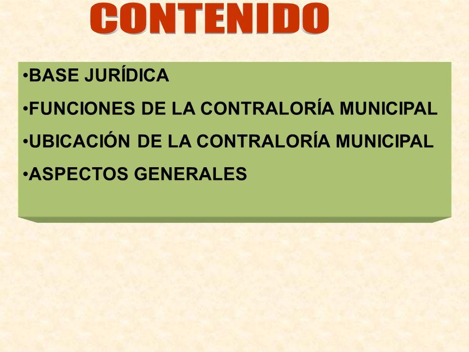 CONTENIDO BASE JURÍDICA. FUNCIONES DE LA CONTRALORÍA MUNICIPAL. UBICACIÓN DE LA CONTRALORÍA MUNICIPAL.