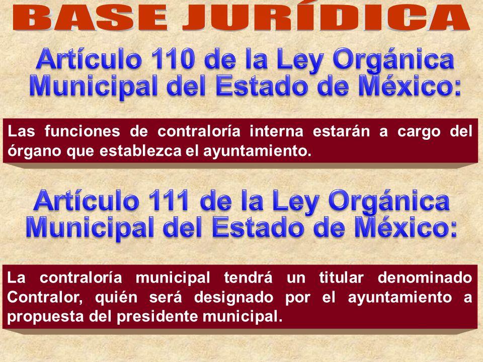 Artículo 110 de la Ley Orgánica Municipal del Estado de México: