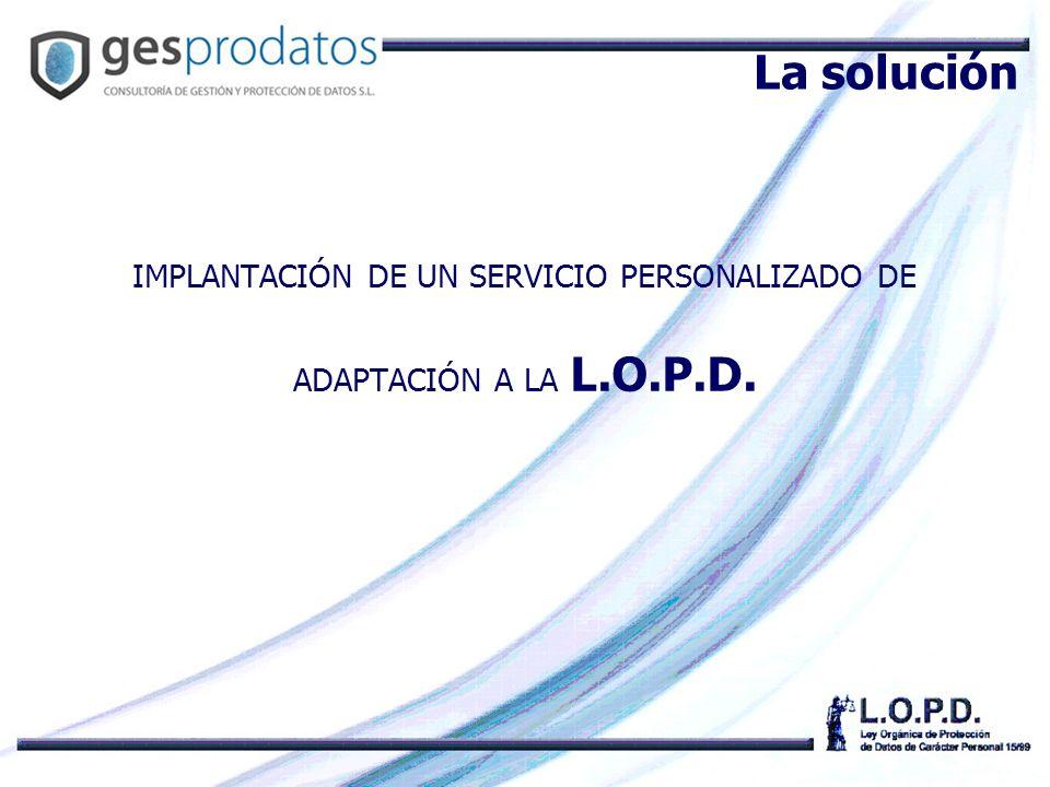 IMPLANTACIÓN DE UN SERVICIO PERSONALIZADO DE ADAPTACIÓN A LA L.O.P.D.