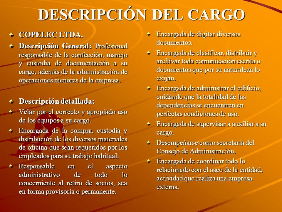 DESCRIPCIÓN DEL CARGO COPELEC LTDA.