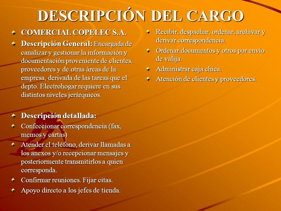 DESCRIPCIÓN DEL CARGO COMERCIAL COPELEC S.A.