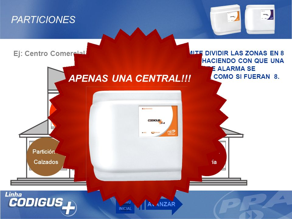 PARTICIONES APENAS UNA CENTRAL!!! Ej: Centro Comercial