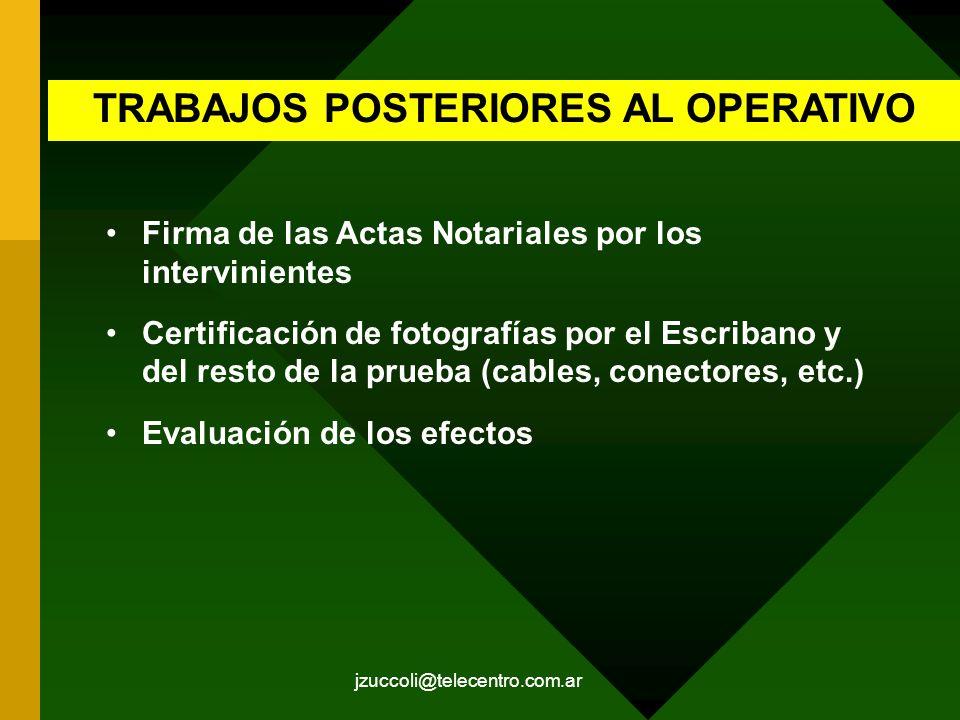 TRABAJOS POSTERIORES AL OPERATIVO