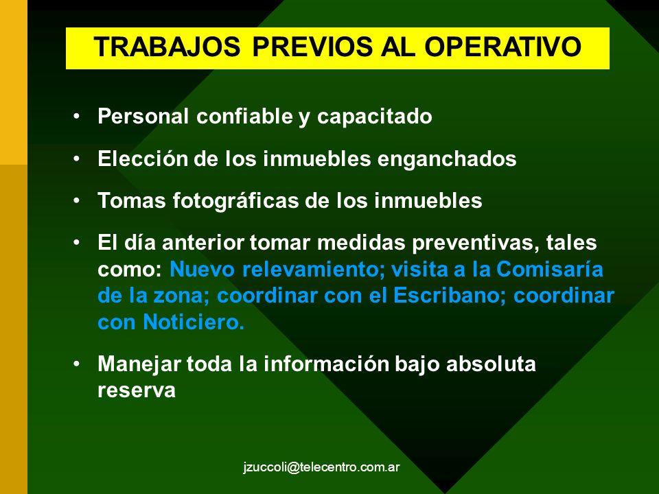 TRABAJOS PREVIOS AL OPERATIVO
