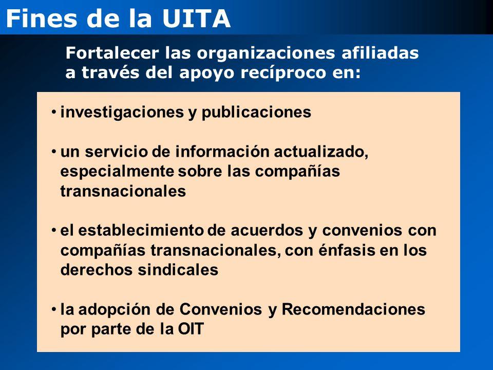 Fines de la UITA Fortalecer las organizaciones afiliadas