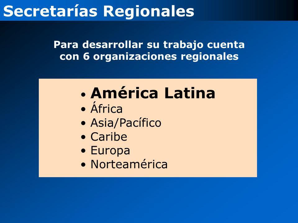 Para desarrollar su trabajo cuenta con 6 organizaciones regionales
