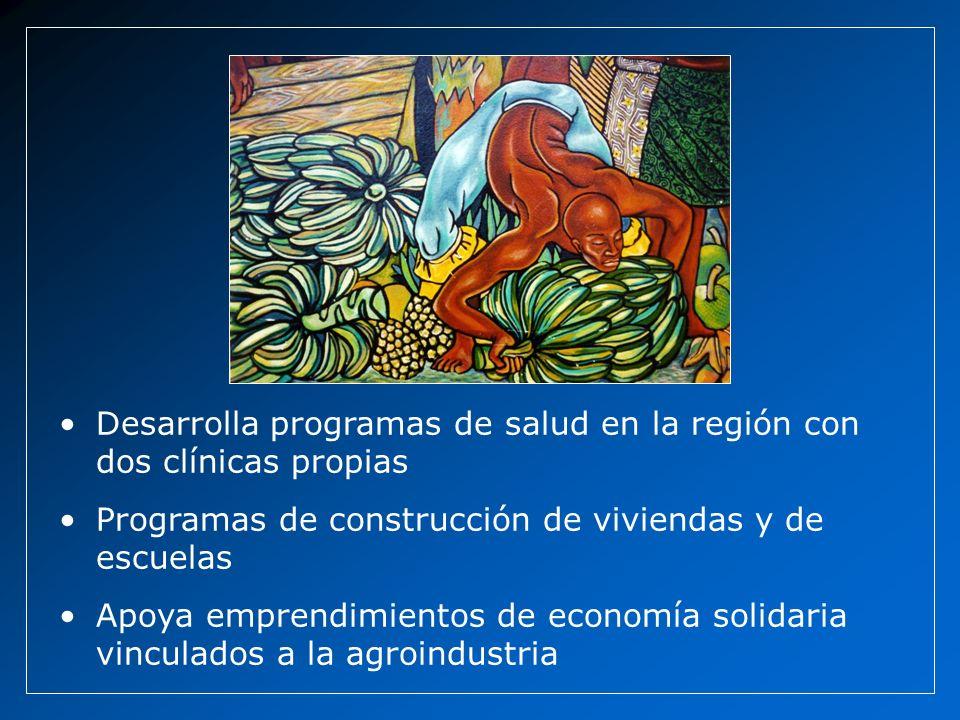 Desarrolla programas de salud en la región con dos clínicas propias