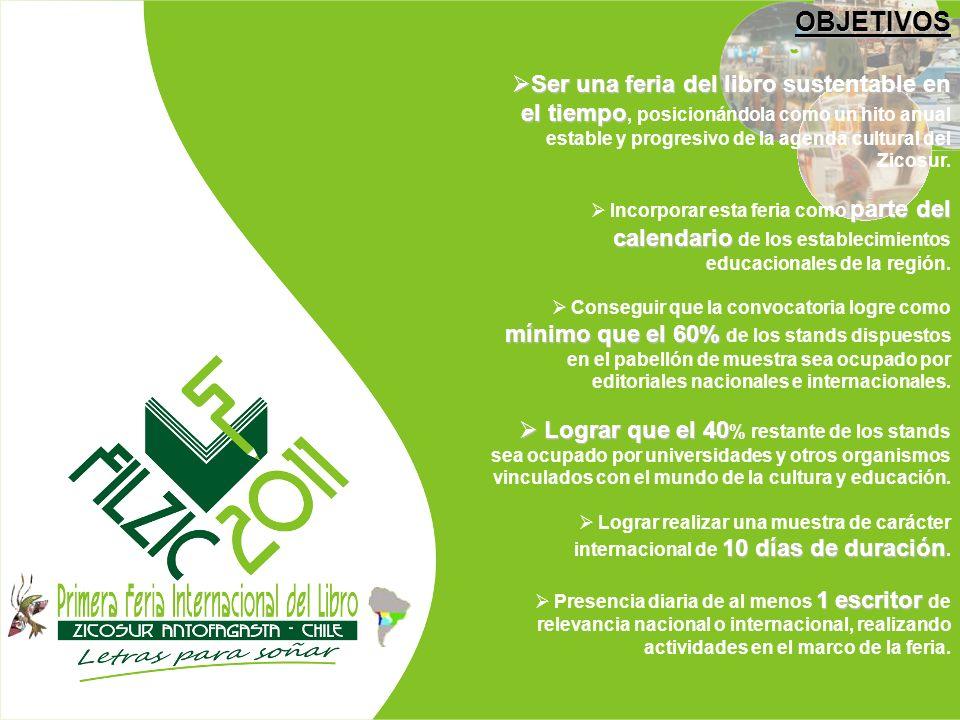 OBJETIVOS Ser una feria del libro sustentable en el tiempo, posicionándola como un hito anual estable y progresivo de la agenda cultural del Zicosur.