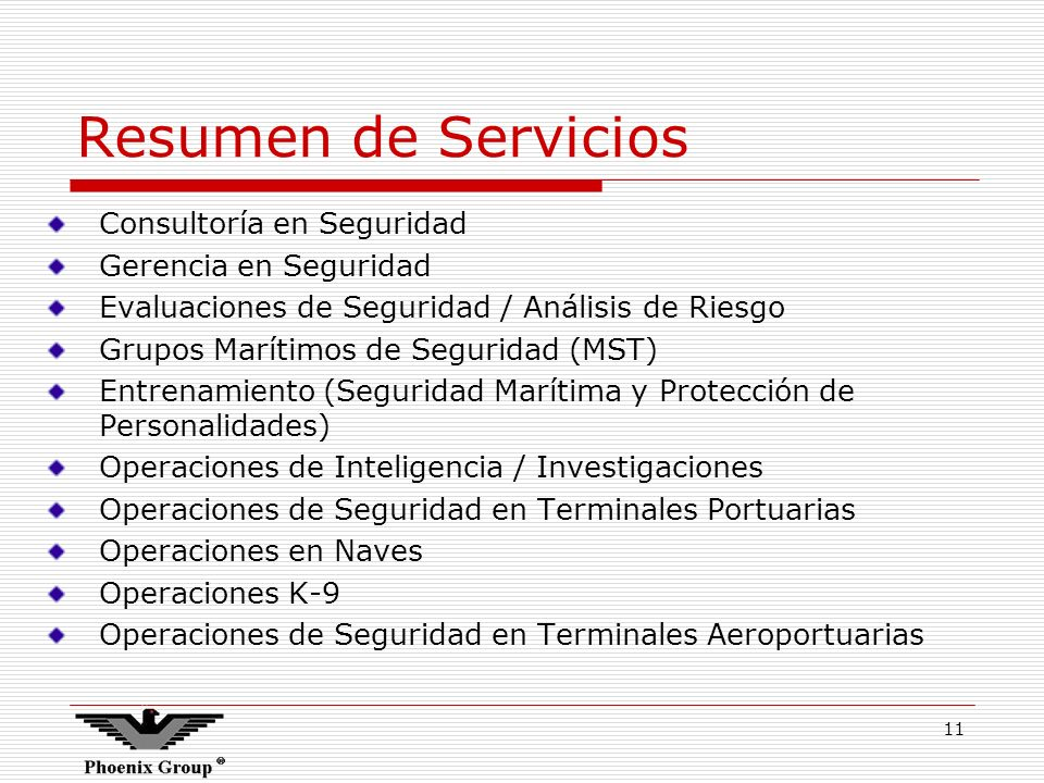Resumen de Servicios Consultoría en Seguridad Gerencia en Seguridad