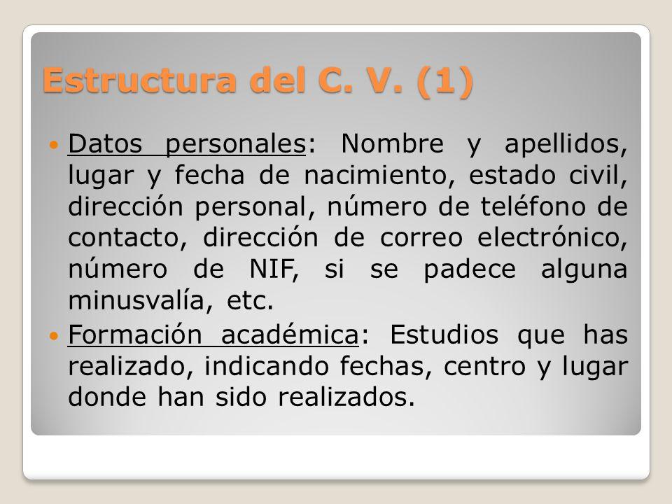 Estructura del C. V. (1)