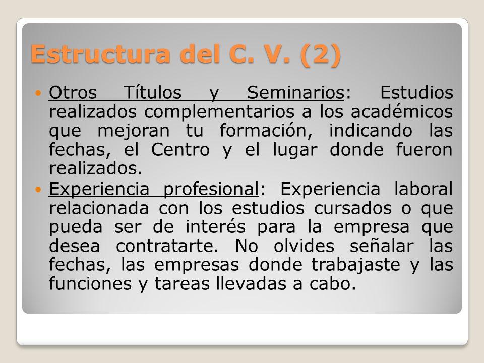 Estructura del C. V. (2)