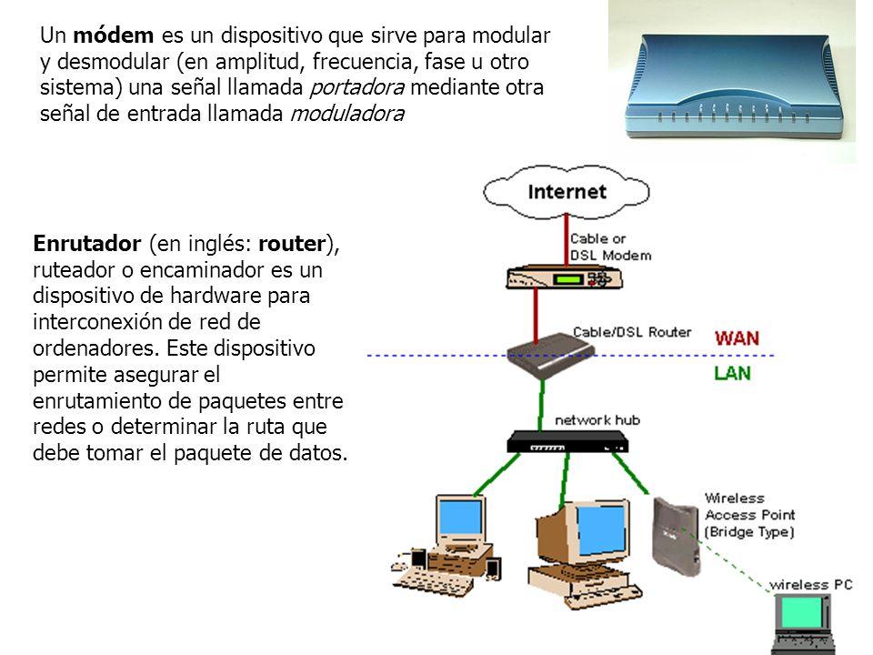 Un módem es un dispositivo que sirve para modular y desmodular (en amplitud, frecuencia, fase u otro sistema) una señal llamada portadora mediante otra señal de entrada llamada moduladora