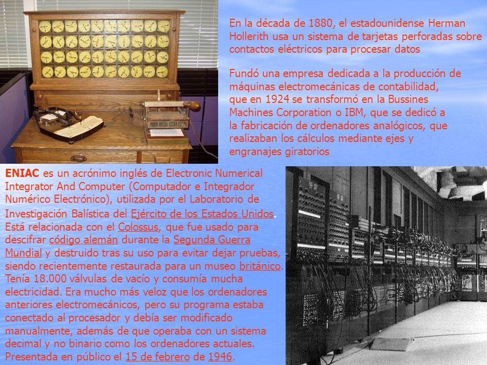 En la década de 1880, el estadounidense Herman Hollerith usa un sistema de tarjetas perforadas sobre contactos eléctricos para procesar datos