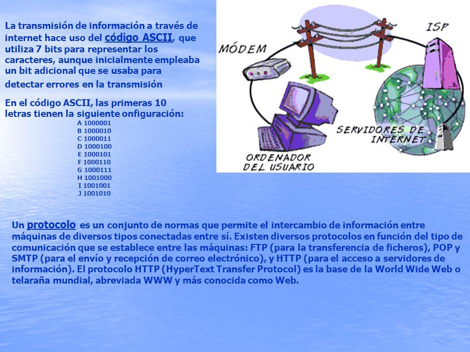 La transmisión de información a través de internet hace uso del código ASCII, que utiliza 7 bits para representar los caracteres, aunque inicialmente empleaba un bit adicional que se usaba para detectar errores en la transmisión
