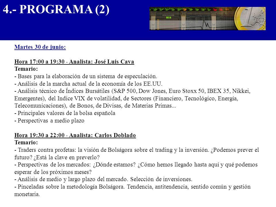4.- PROGRAMA (2) .................................... Martes 30 de junio: Hora 17:00 a 19:30 - Analista: José Luis Cava.