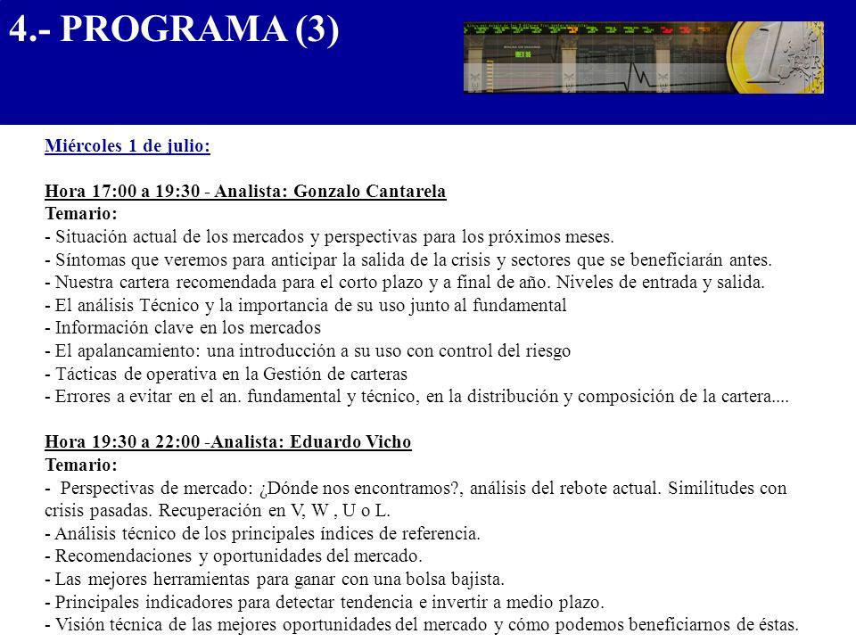 4.- PROGRAMA (3) .................................... Miércoles 1 de julio: Hora 17:00 a 19:30 - Analista: Gonzalo Cantarela.