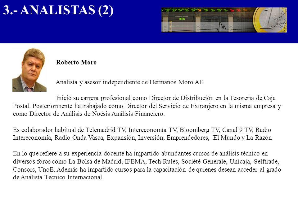 3.- ANALISTAS (2) .................................... Roberto Moro