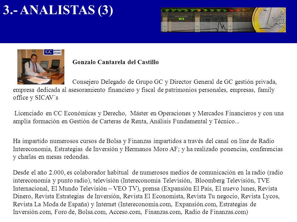 3.- ANALISTAS (3) .................................... Gonzalo Cantarela del Castillo.