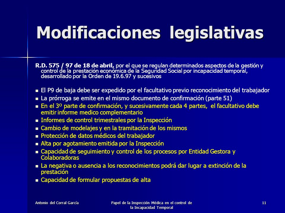 Modificaciones legislativas