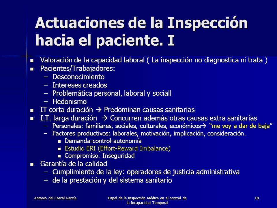 Actuaciones de la Inspección hacia el paciente. I